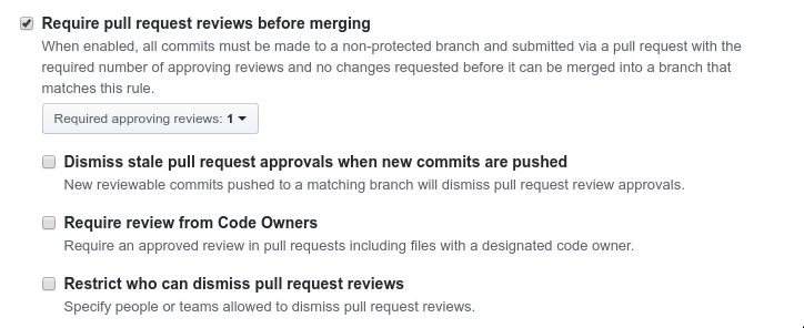Screenshot of code review settings